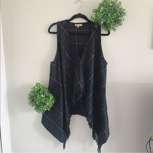 Democracy green plaid  long flowy vest size small